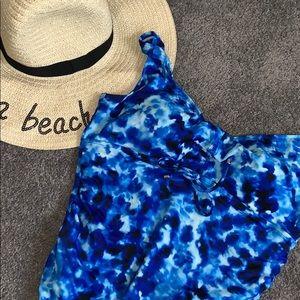 Blue tie dye one piece swimsuit